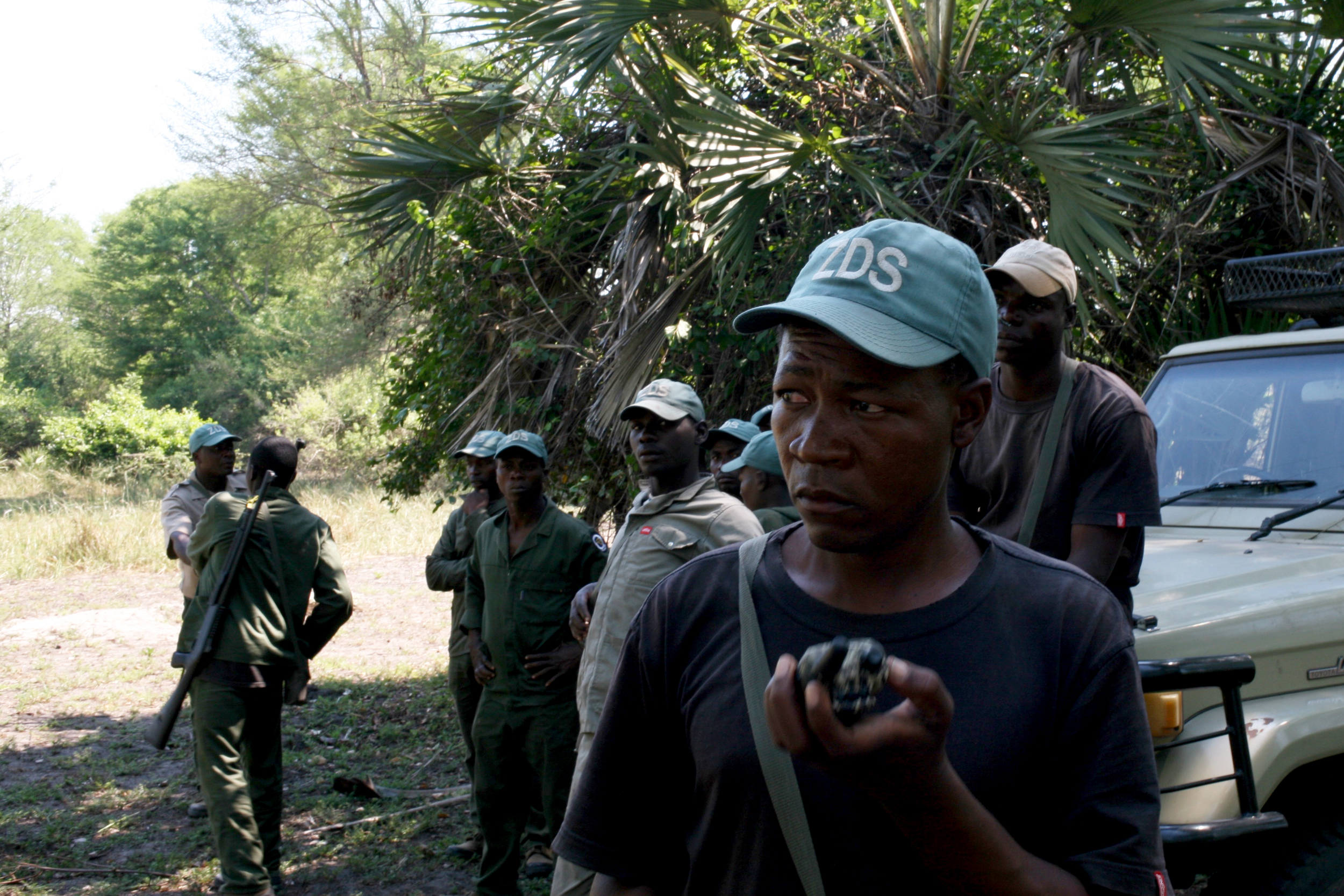 Members of an antipoaching squad employed by a private hunting concession in a wildlife reserve in Mozambique.LAURA KRANTZ