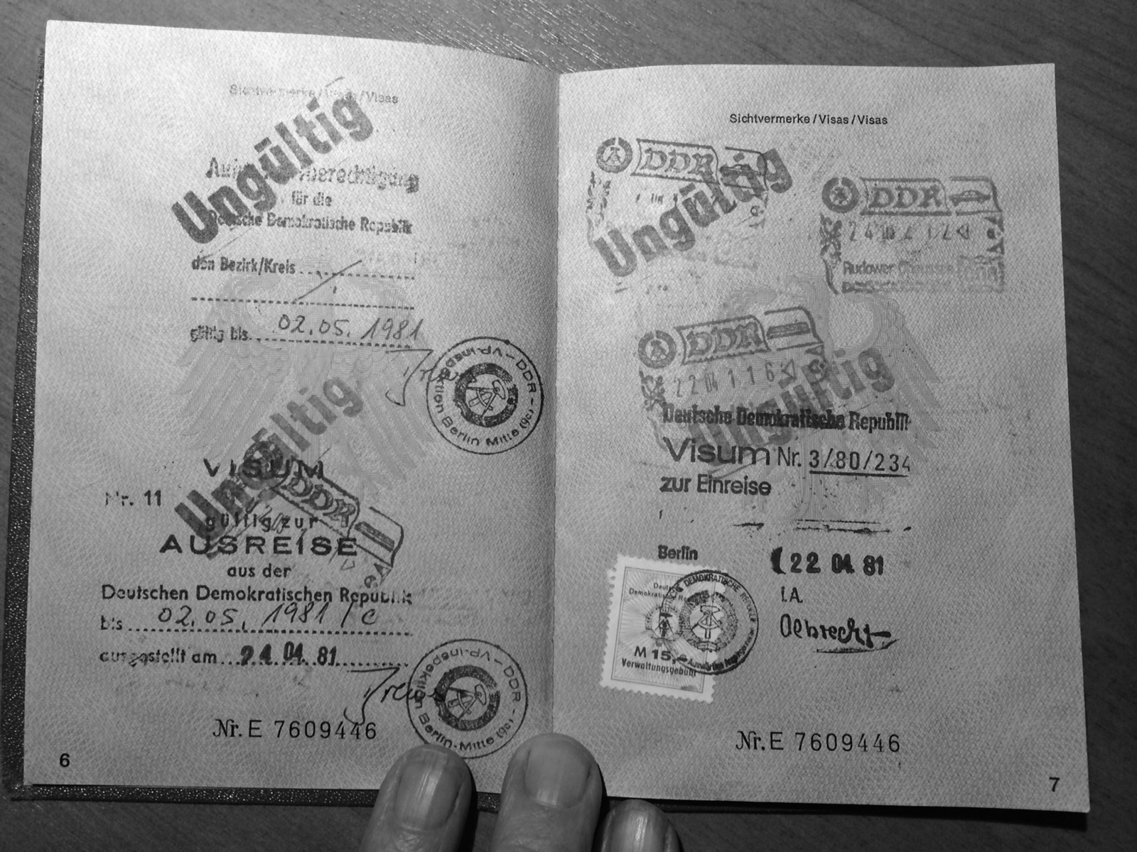 My passport from my travels to East Germany.