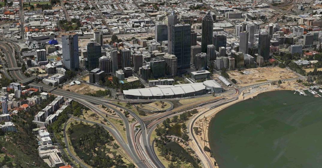 Perth Australia in 3D flyover Apple Maps