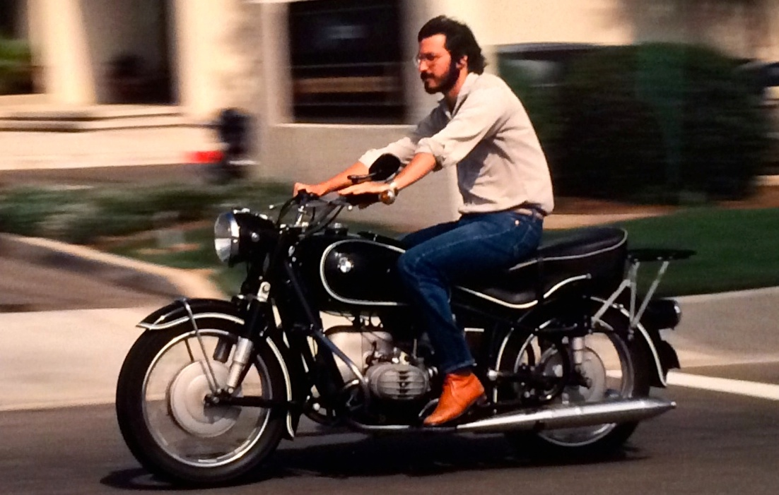 Steve Jobs on motorbike for American Cool exhibit at the National Portrait Gallery