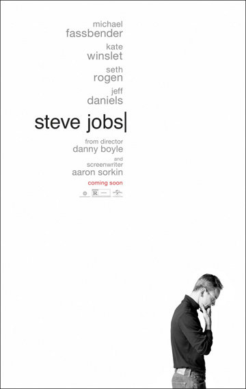 Universal Pictures has let the wraps of the poster for it's Steve Jobs movie written by Aaron Sorkin and I think Steve would be proud of it's minimalistic design.  In case you haven't seen the trailer here it is: