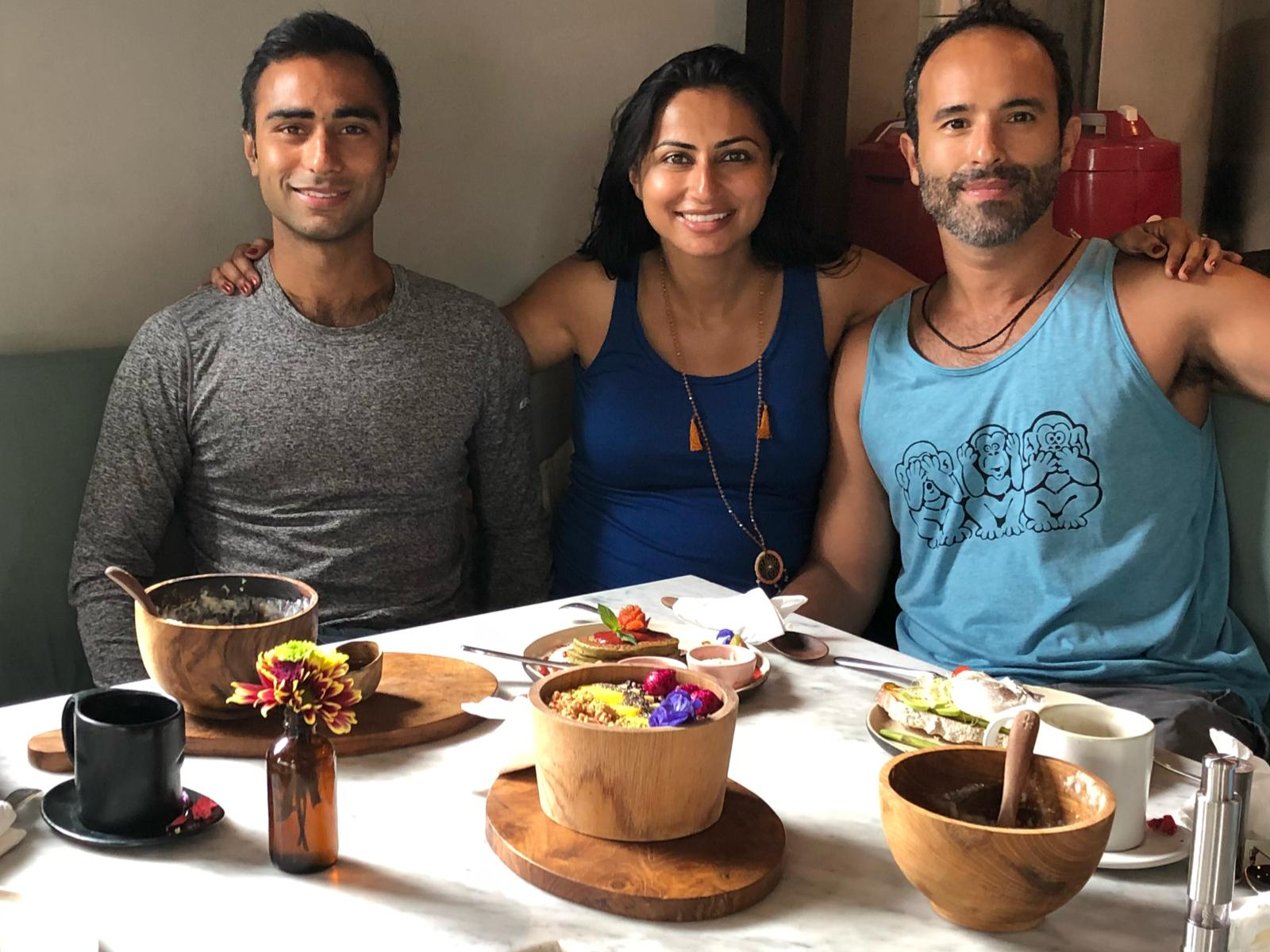 From L to R: My brother and resident yoga instructor extraordinaire, Amit, my blessed and pregnant self, and my amazing husband and travel buddy Mahdad.