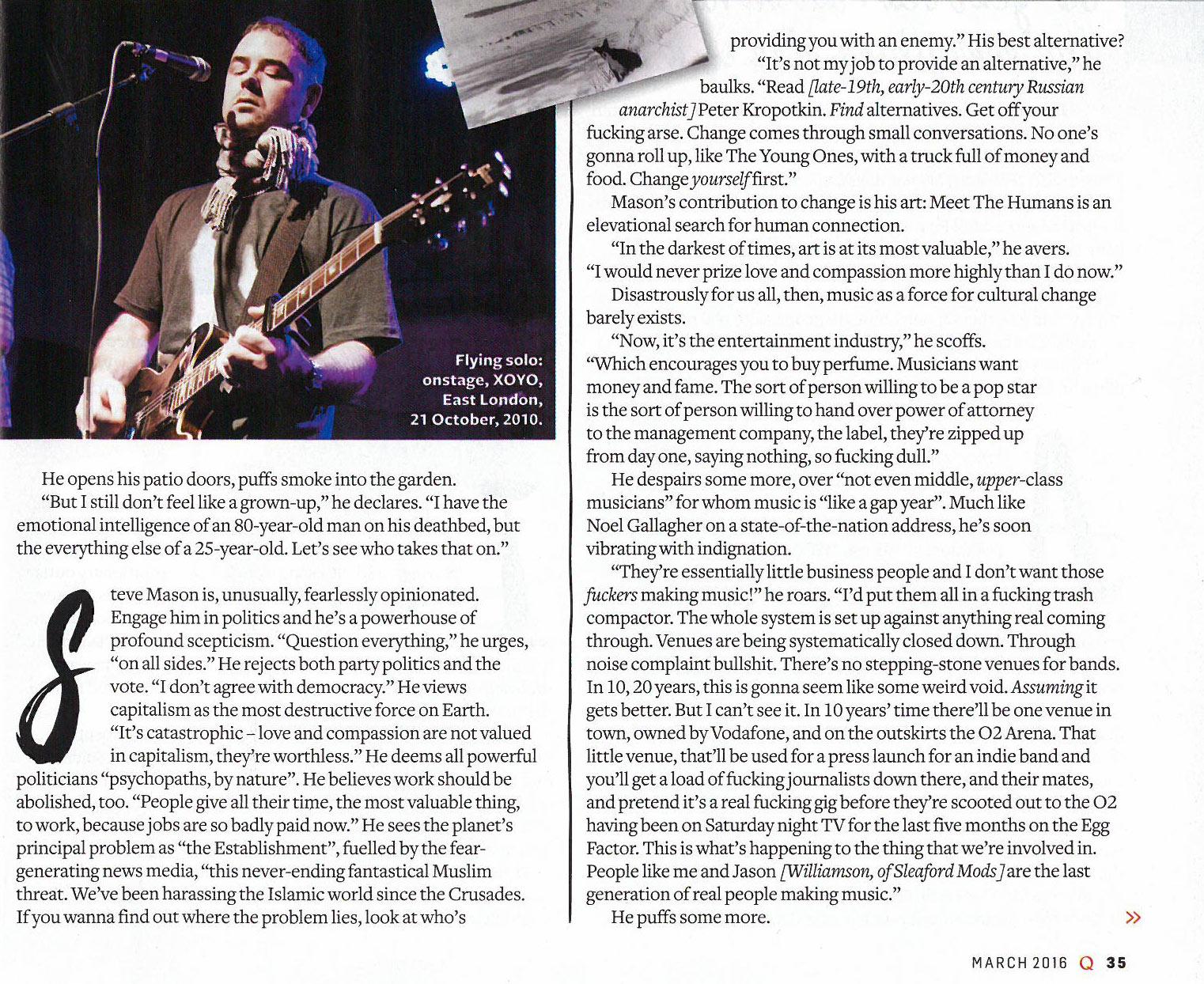 Steve Mason for Q Magazine