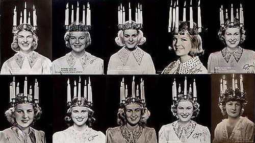 Vintage photos of traditional, and actually lit, St. Lucia crowns. Nowadays they use lights instead of fire for the candle crowns.