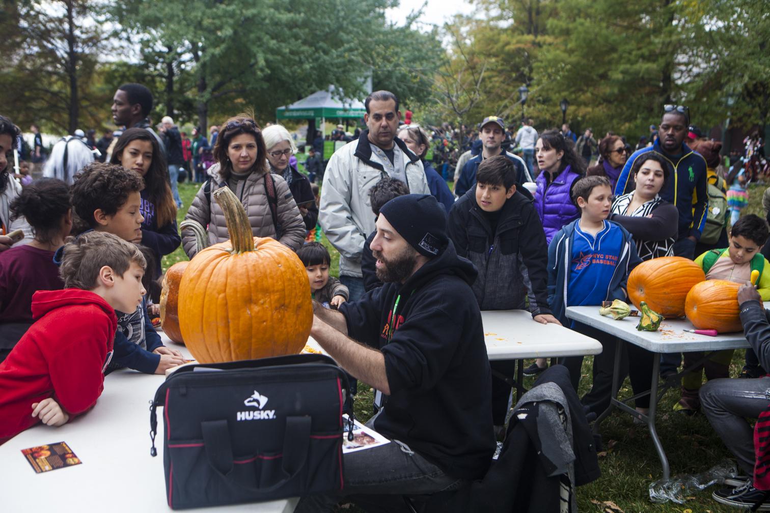 Marc carving in Central Park (photo credit: Lauren Gesswein)