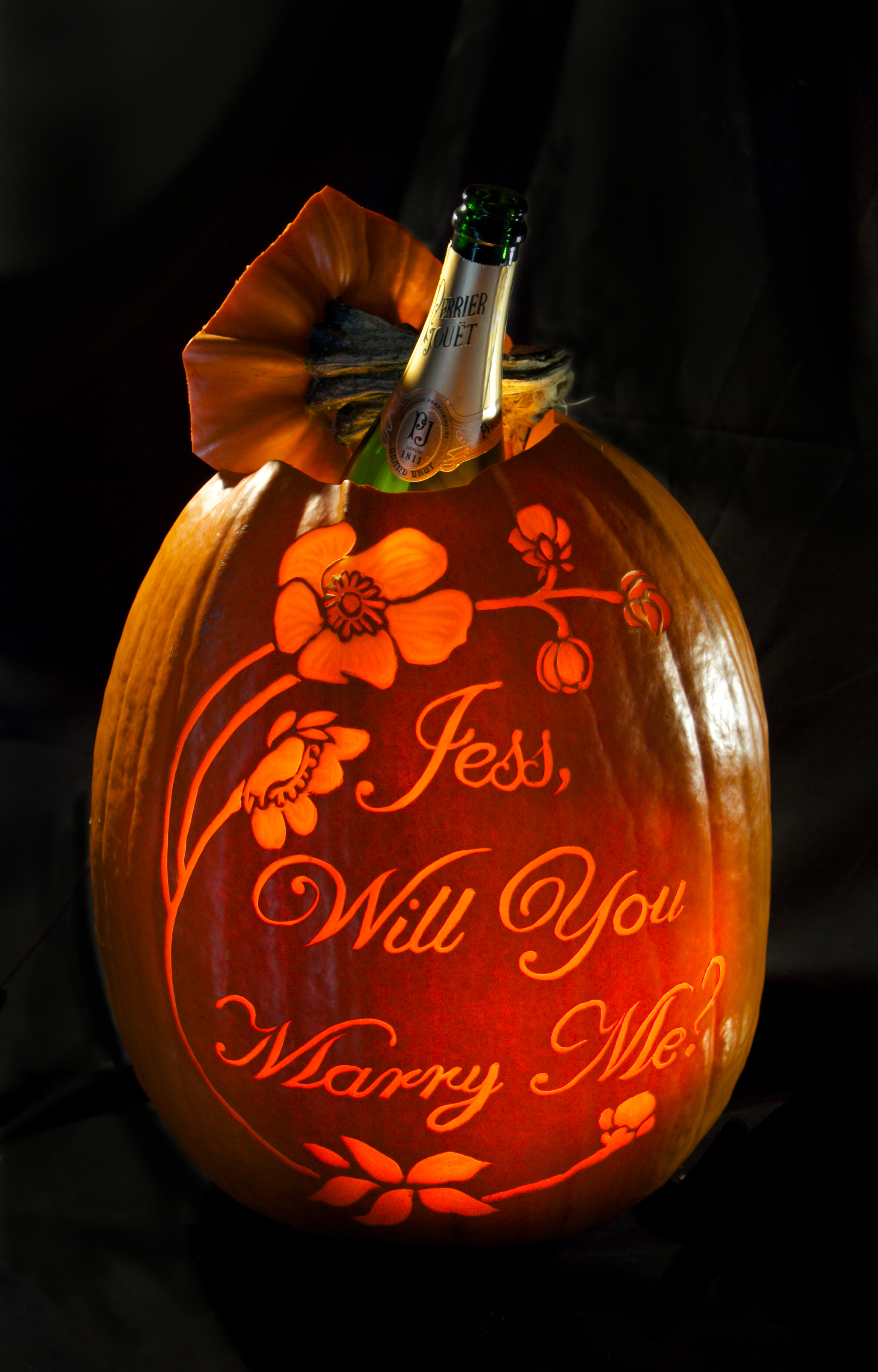 We can carve a limited number of proposal pumpkins large enough to hide a champagne bottle inside.with lighting element.