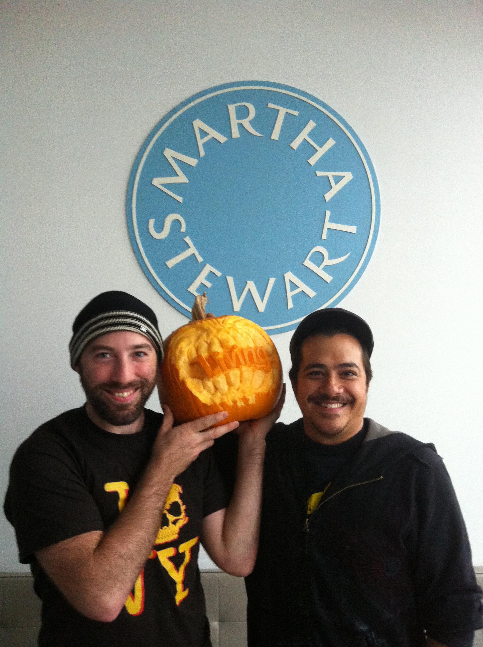 Marc and Chris carving at Martha Stewart Omnimedia.