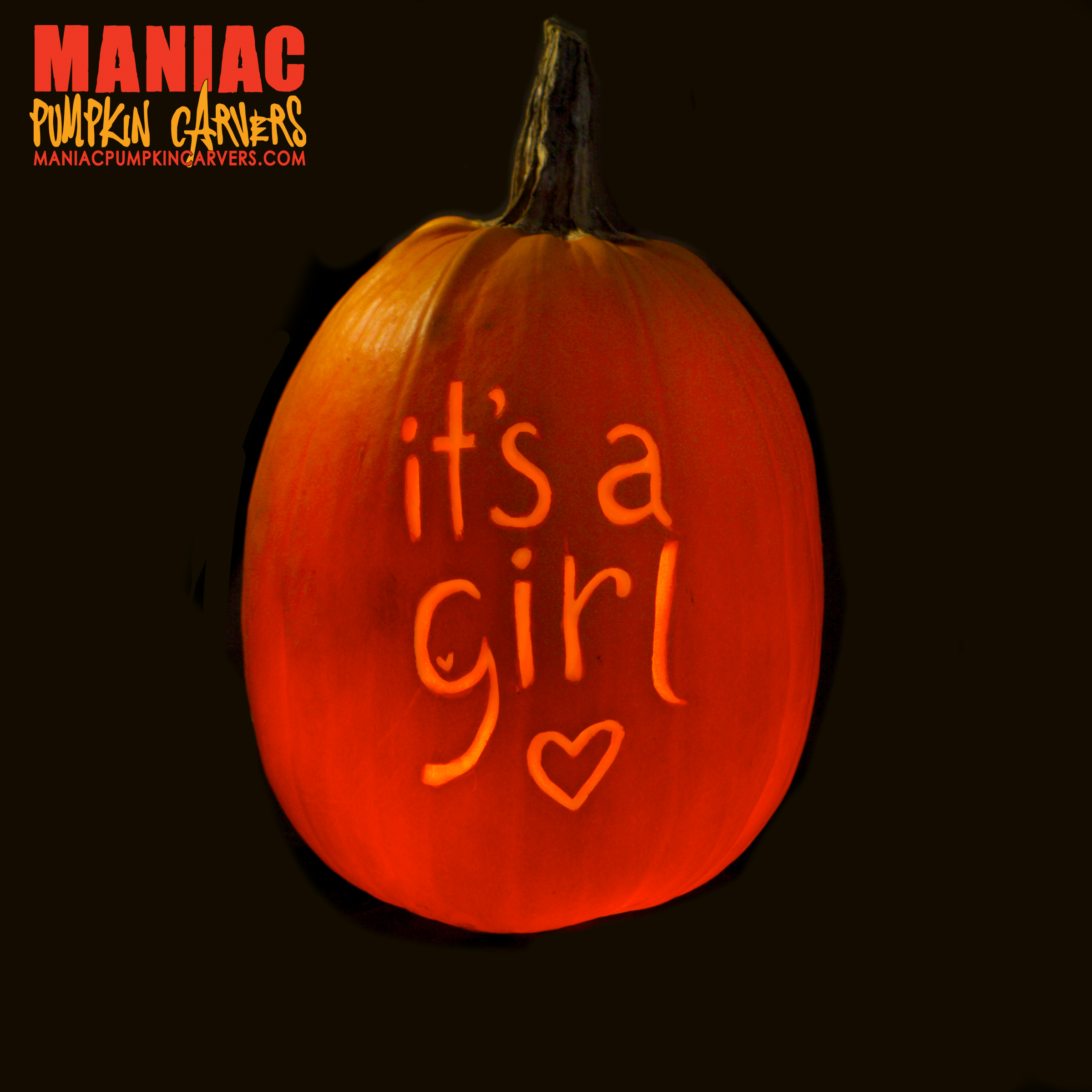Medium pumpkin with text.
