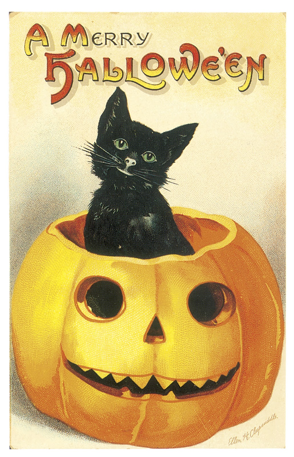 We love classic designs of the past are always inspired by the iconic jack o lantern postcard illustrations from the early 1900s.