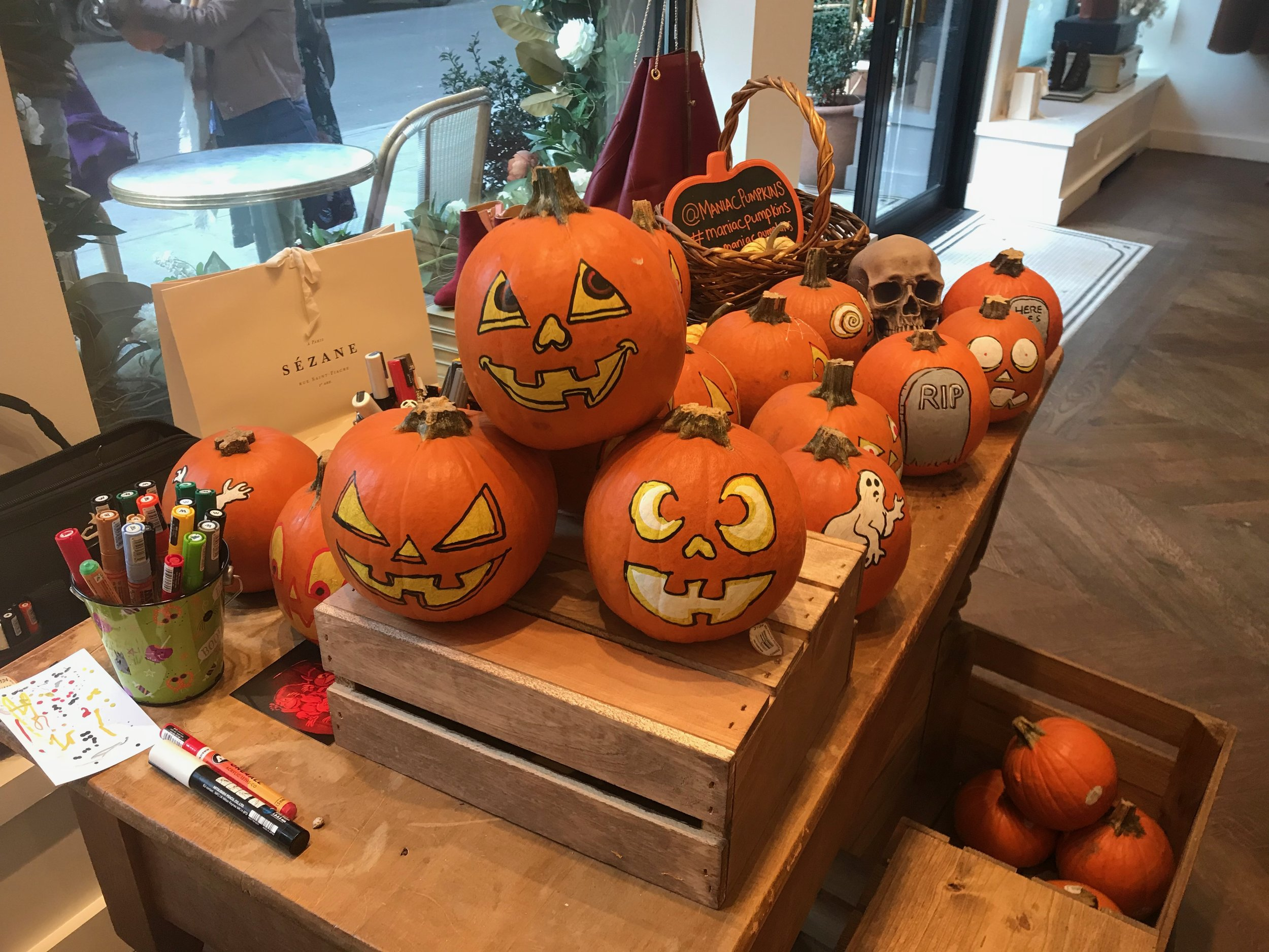 Personalized sugar pumpkin give aways at Halloween event in SoHo, NYC