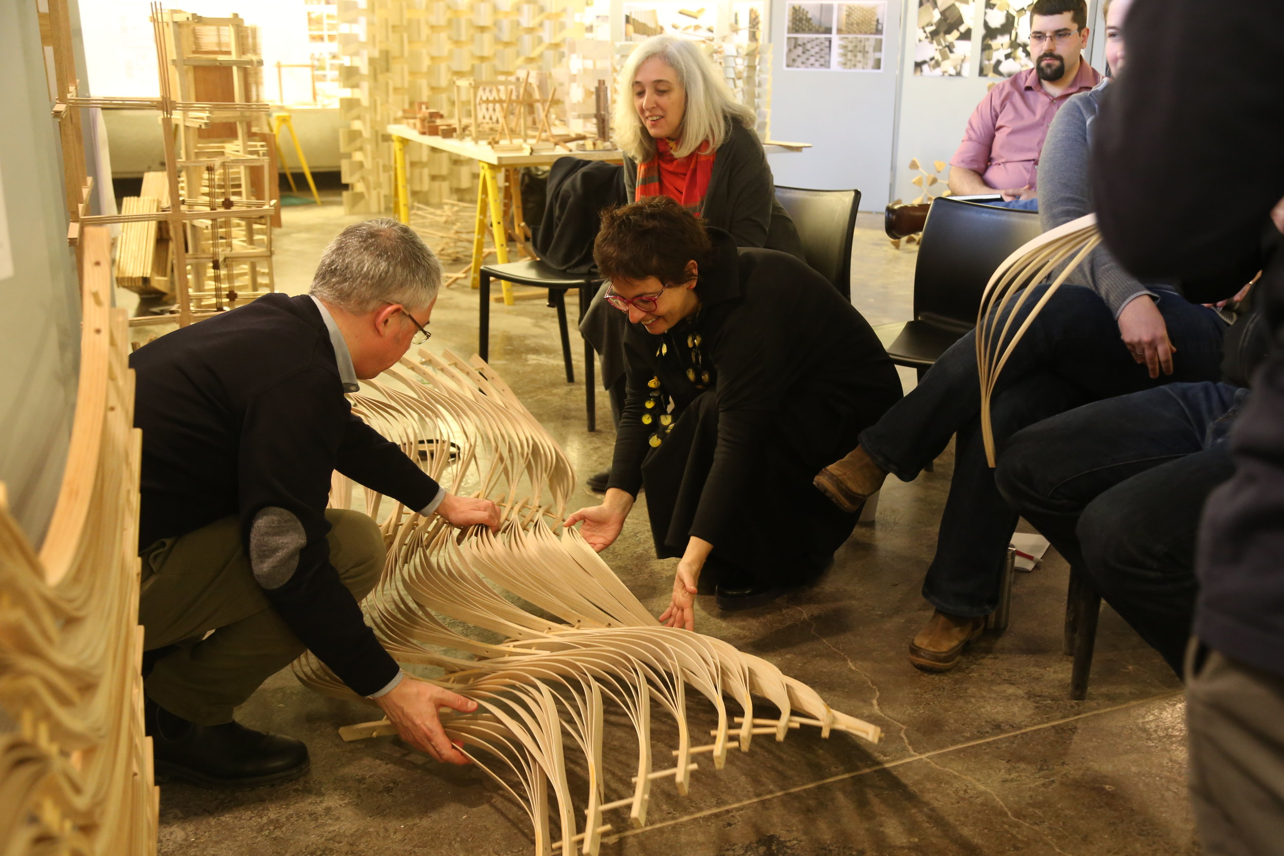 Material Culture Graduate Research Group Midterm Review. Cages. Prof. Miguel Guitart. University at Buffalo. With Clara Solà-Morales, Laura Garófalo-Khan, Christopher Romano, and Stephanie Cramer. April 4, 2018. Photograph by Maryanne Schultz for B/a+p.