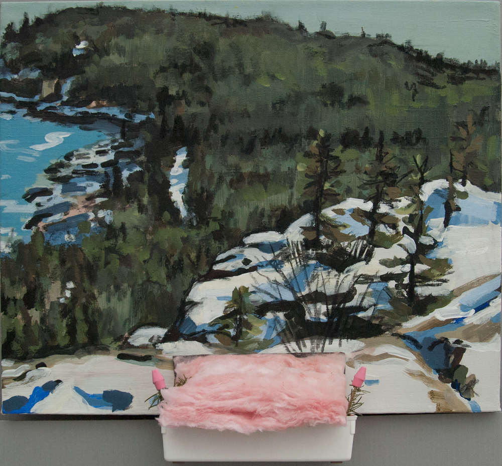 Erasable 3: View of Loop Road from Gorham Ledge. Acrylic, charcoal, plastic bin, insulation, fur branches, erasers. 20 x 24 in. 2015-16.