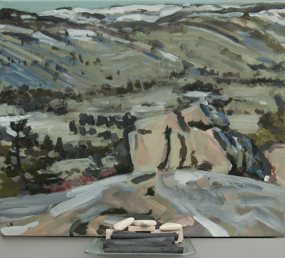 Erasable 4: View of Cadillac from Gorham Summit. Acrylic, charcoal, metal tray, erasers, charcoal sticks. 20 x 24 in. 2016.