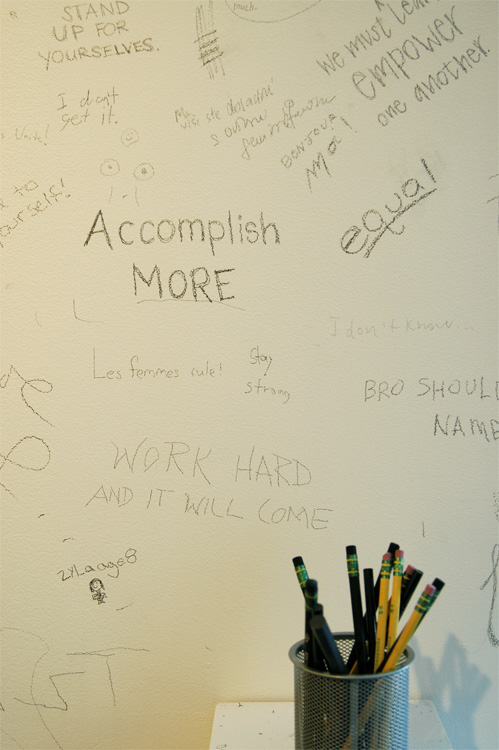 Museum goers' writing on wall, Faculty Group show, Colby Museum. 2008.