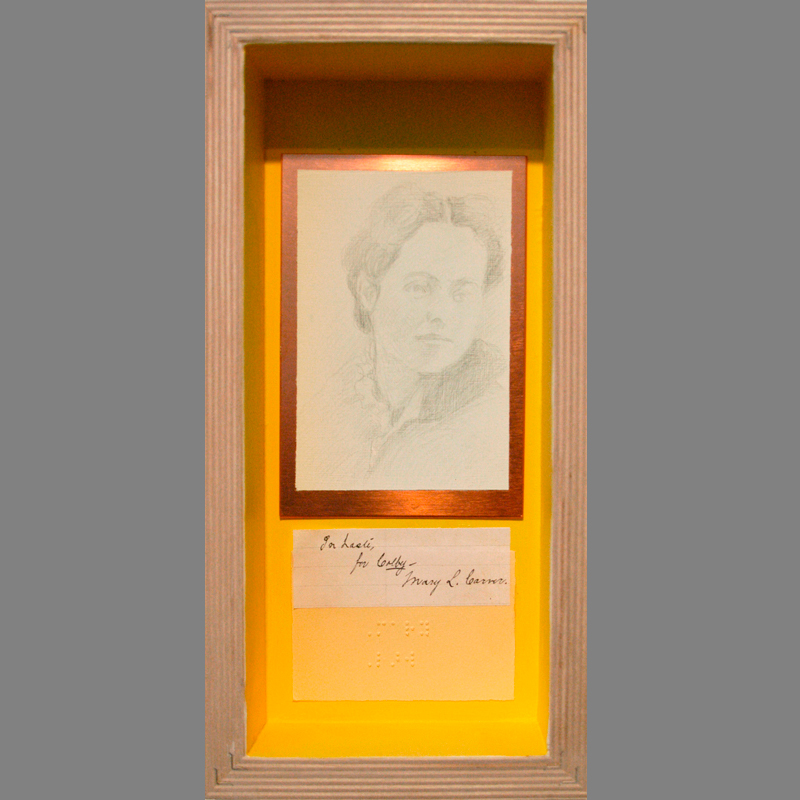 "Mary Low Carver, 1875, author of pamphlet ""Coeducation at Colby."" 2007. Silverpoint (fugitive) on copper plate, names in braille, collaged signatures/reverse of deep cradled ampersand panel. 12 x 6"""