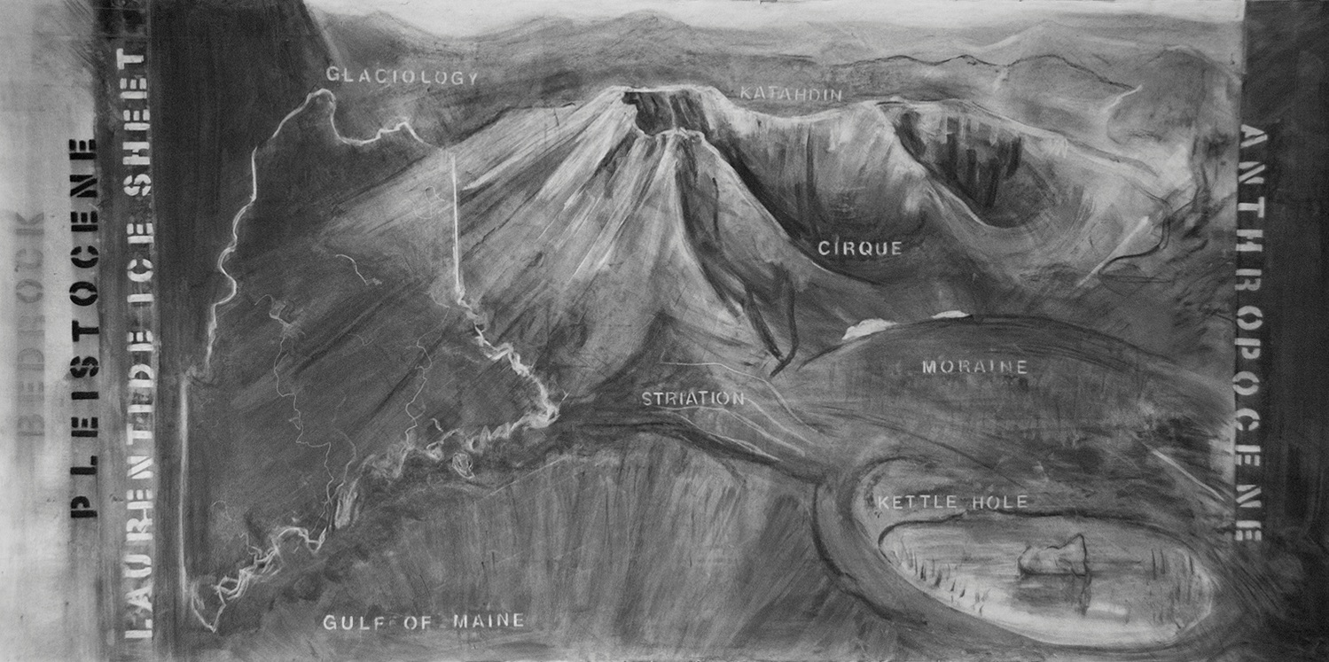 Glaciology/Mt Katahdin. 2018. 51 in. x 8.5 feet. Charcoal on paper.