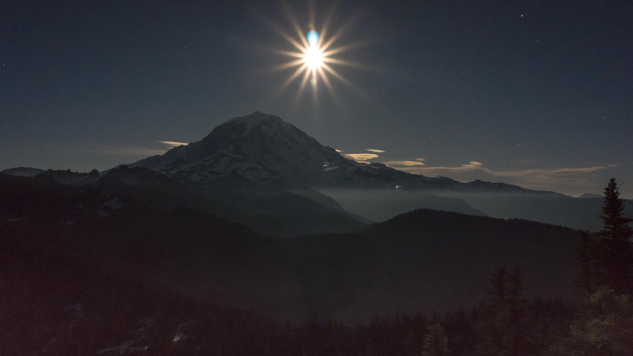 Moonlight over Mount Rainier and Eunice Lake.