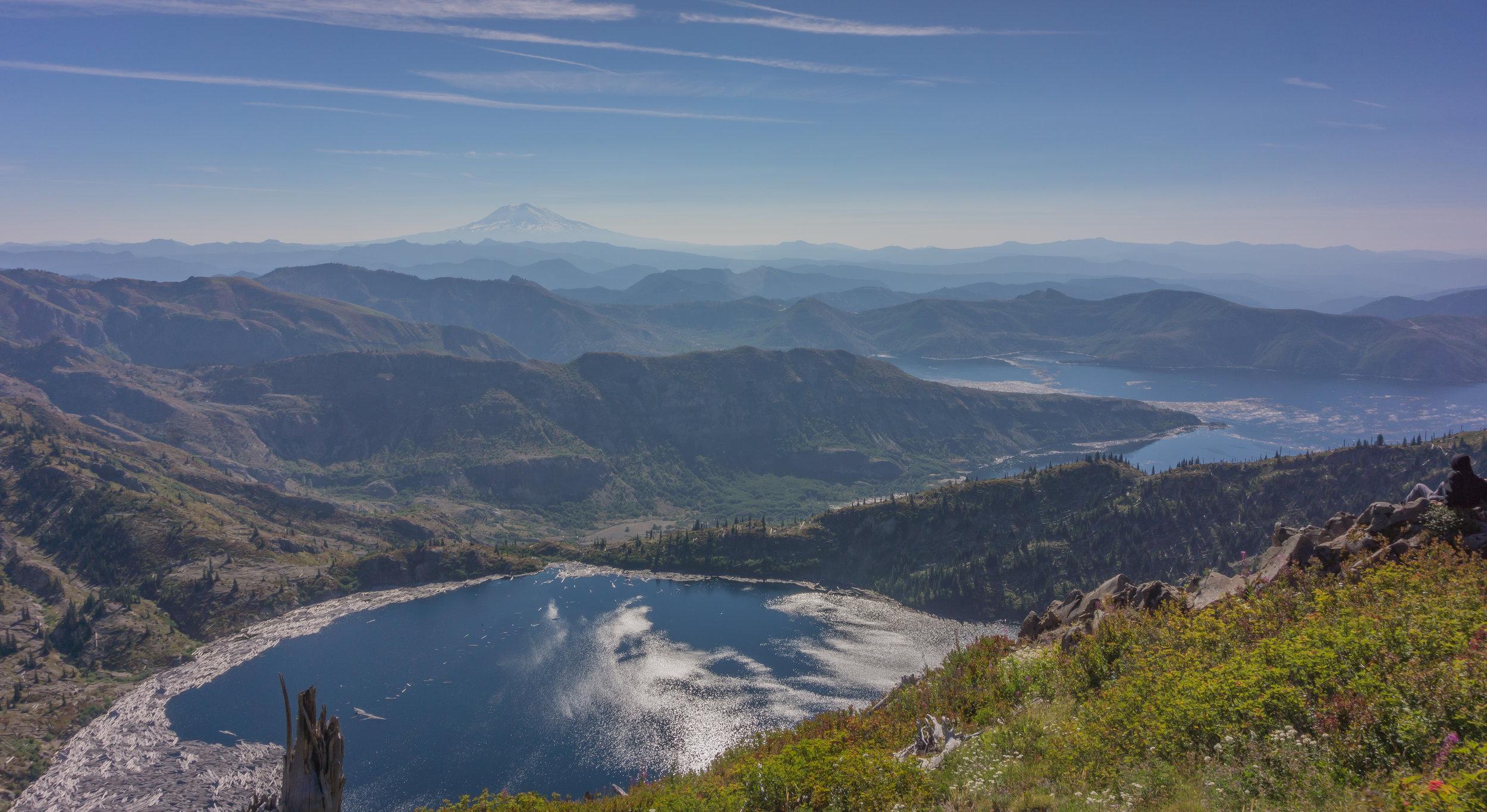 St. Helens Lake, Mount Adams, and Spirit Lake.