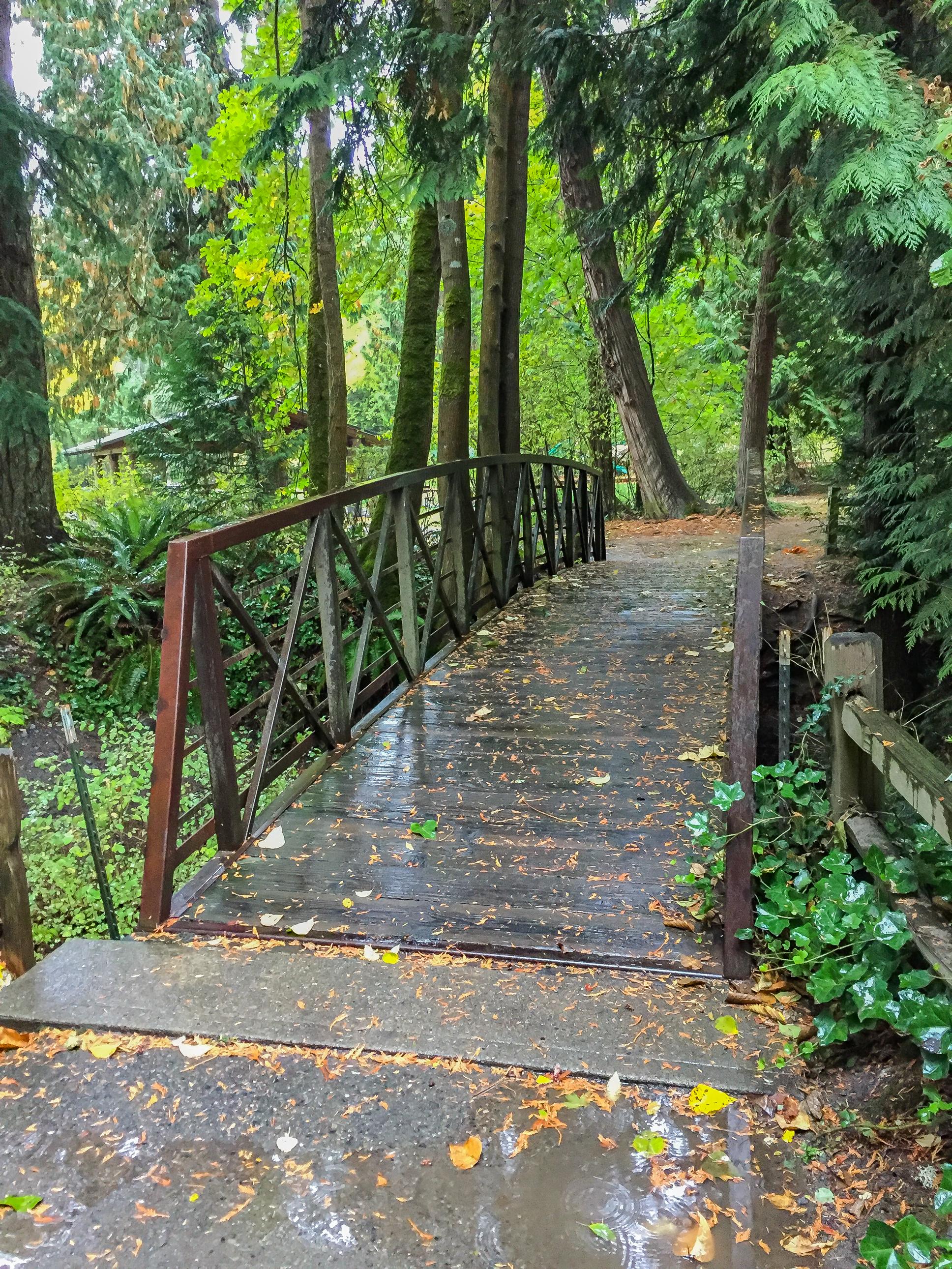 Crossing a bridge over Denny Creek