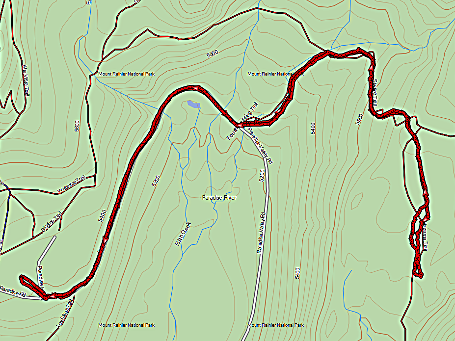 My gpx track of the winter route to Mazama Ridge via Paradise River Road and 4th Crossing.
