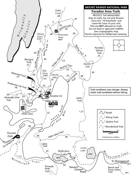 Summer map  for Paradise, Mount Rainier National Park