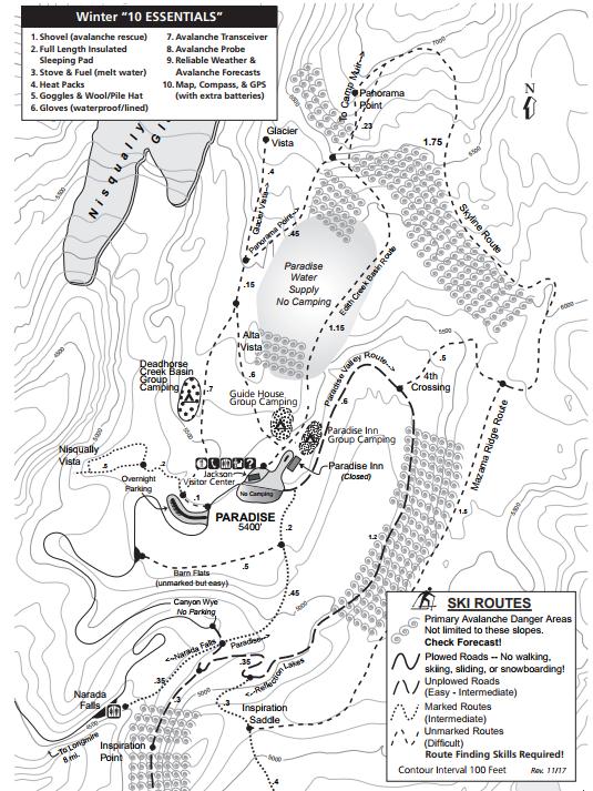 Winter map  for Paradise, Mount Rainier National Park