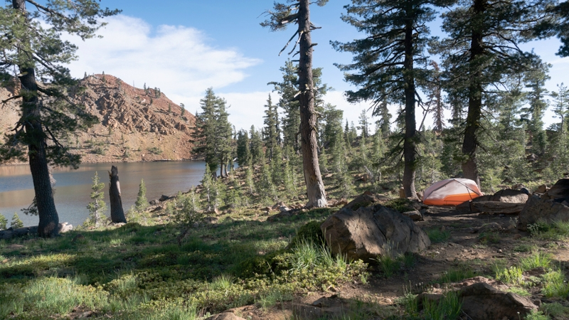 Zoomed out view of our campsite and Summit Lake.