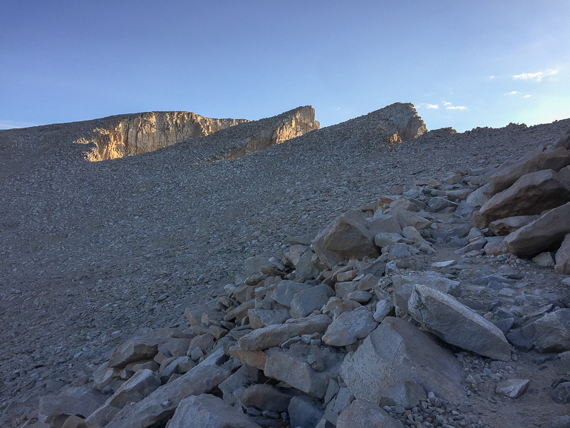 The summit of Mount Whitney on the far left, Keeler Needle in the middle, Crooks Peak on the right. The trail is on the far right.