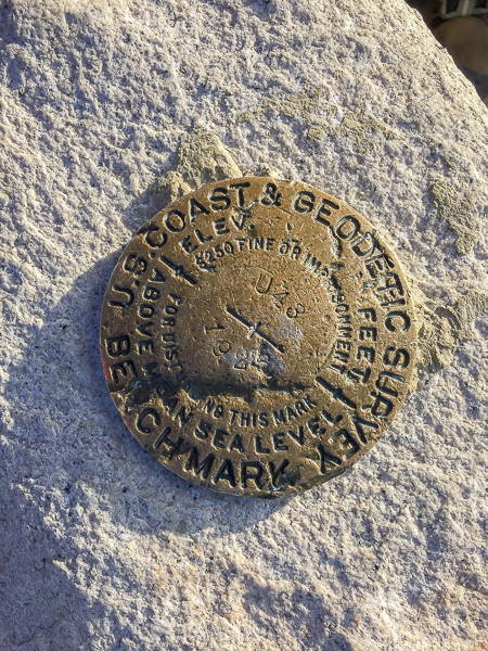 Survey markers at the summit.