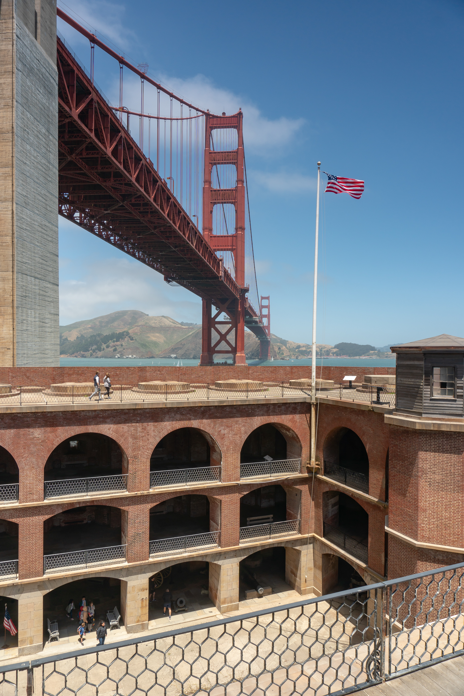 The top tier of Fort Point, a Civil War-era fort, is generally open on weekends.