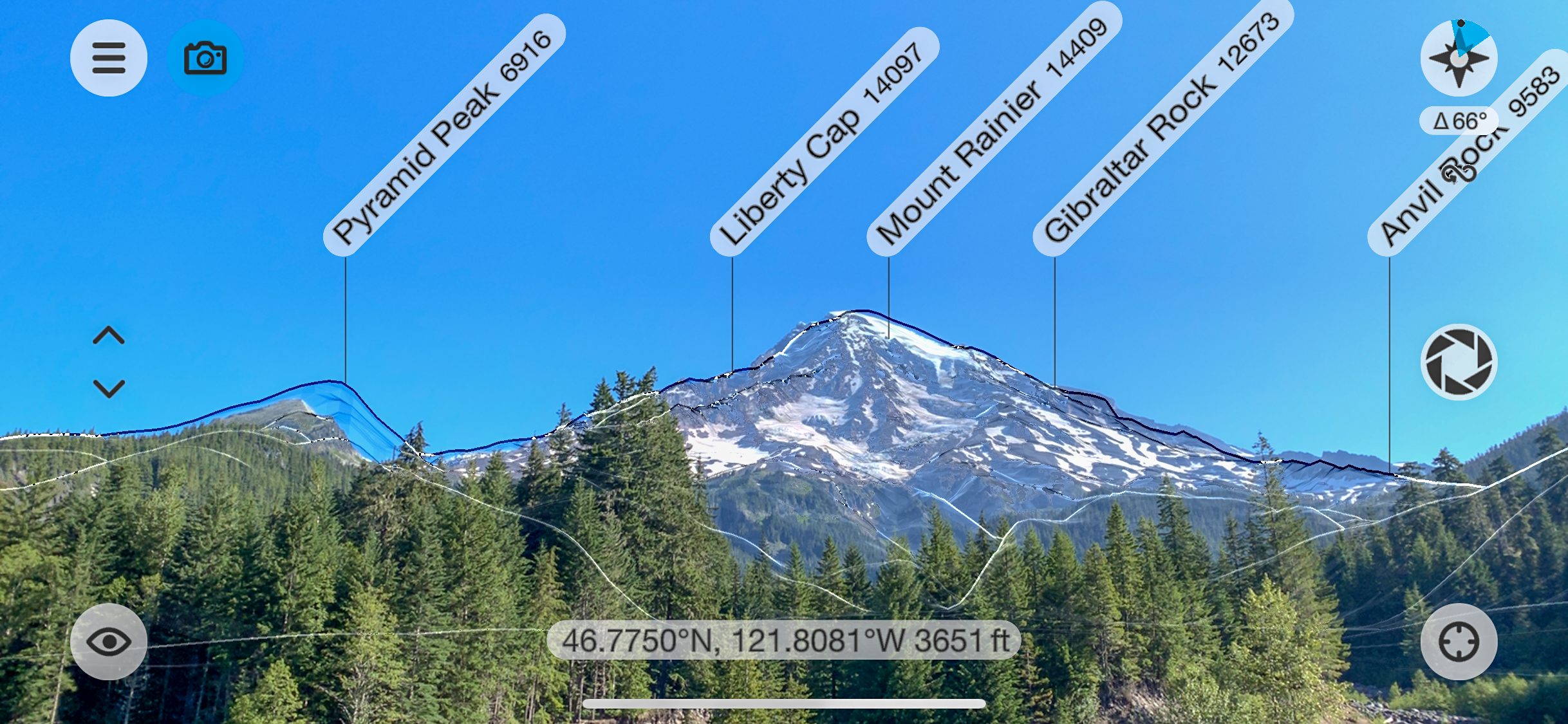 View of Mount Rainier from the overlook above Kautz Creek. I used the PeakFinder app for this view.