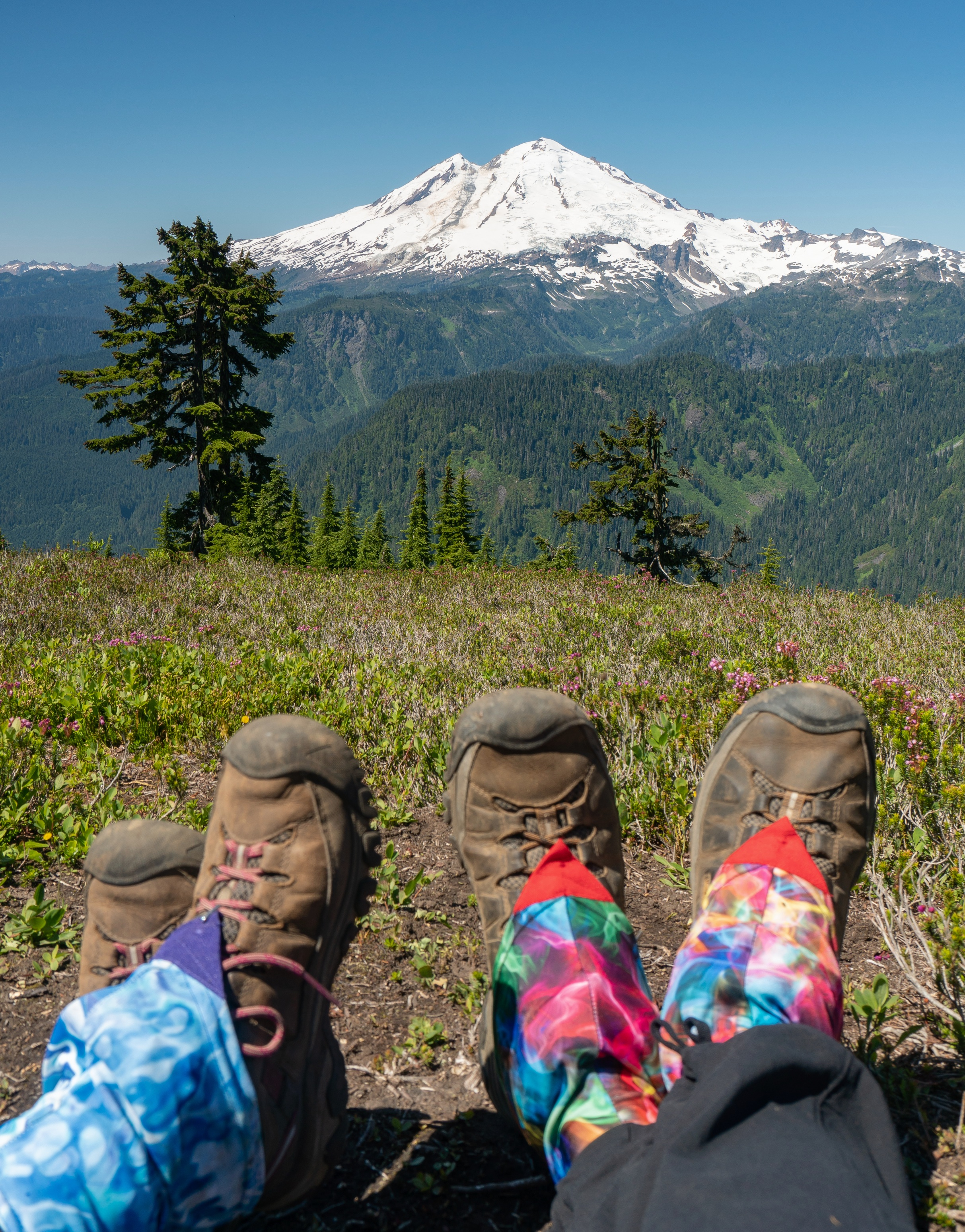 View from our lunch spot.  Dirty girl gaiters  :)