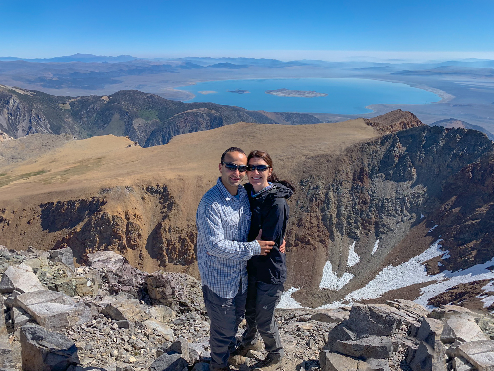 The summit of Mount Dana and Mono Lake in the background // Image credit: a hiker at the summit