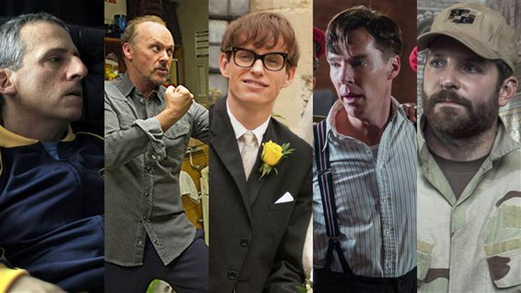 """Steve Carell, """"Foxcatcher""""Bradley Cooper, """"American Sniper""""Benedict Cumberbatch, """"The Imitation Game""""Michael Keaton, """"Birdman or (The Unexpected Virtue of Ignorance)""""Eddie Redmayne, """"The Theory of Everything"""""""