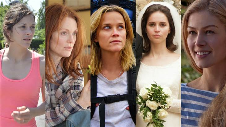 """Marion Cotillard, """"Two Days, One Night""""Felicity Jones, """"The Theory of Everything""""Julianne Moore, """"Still Alice""""Rosamund Pike, """"Gone Girl""""Reese Witherspoon, """"Wild"""""""
