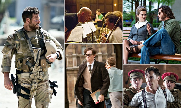 """Jason Hall, """"American Sniper""""Graham Moore, """"The Imitation Game""""Paul Thomas Anderson, """"Inherent Vice""""Anthony McCarten, """"The Theory of Everything""""Damien Chazelle, """"Whiplash"""""""