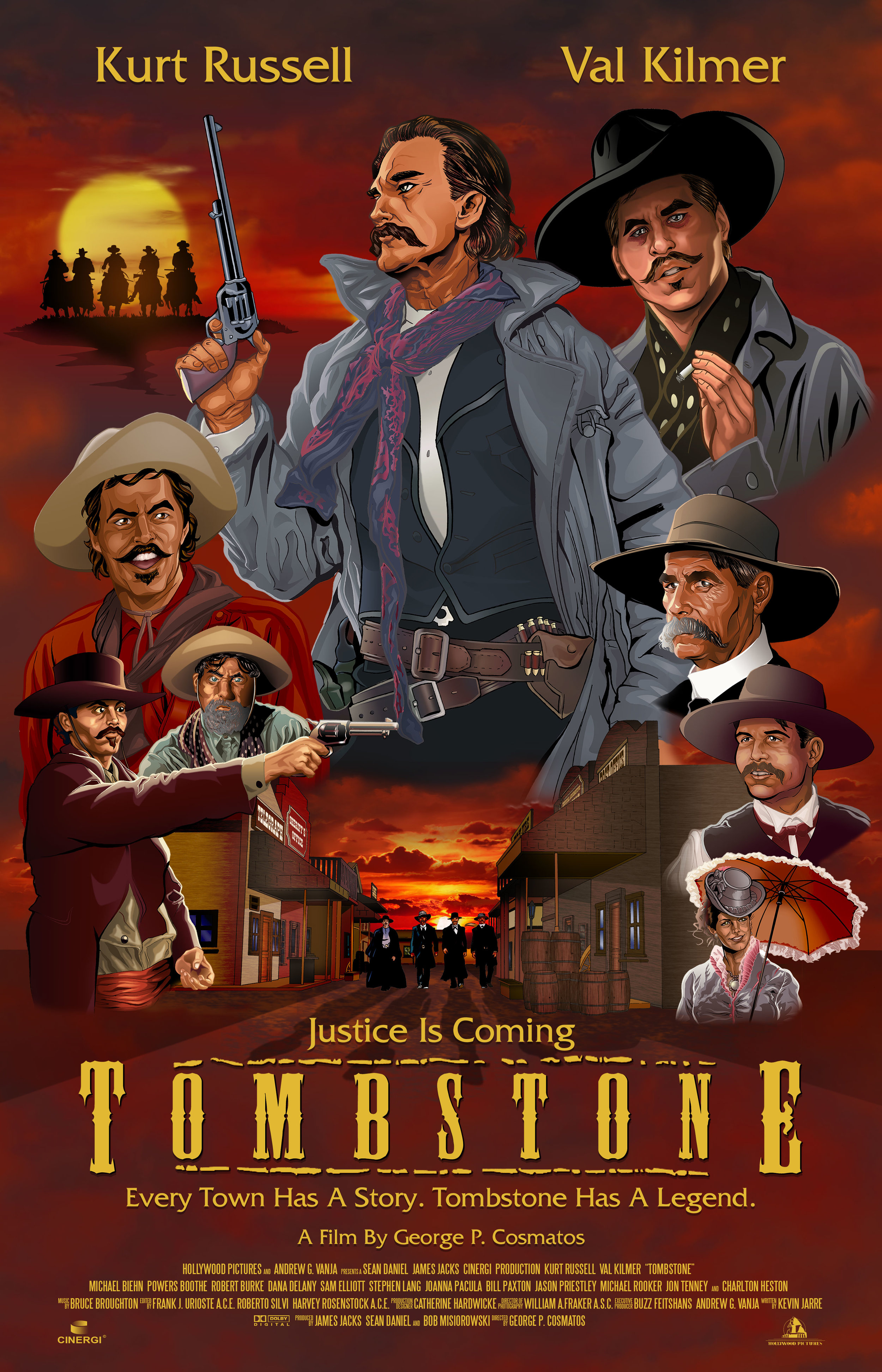 "Tombstone Val Kilmar Movie Poster Kurt Russell /""Every town has a story...."