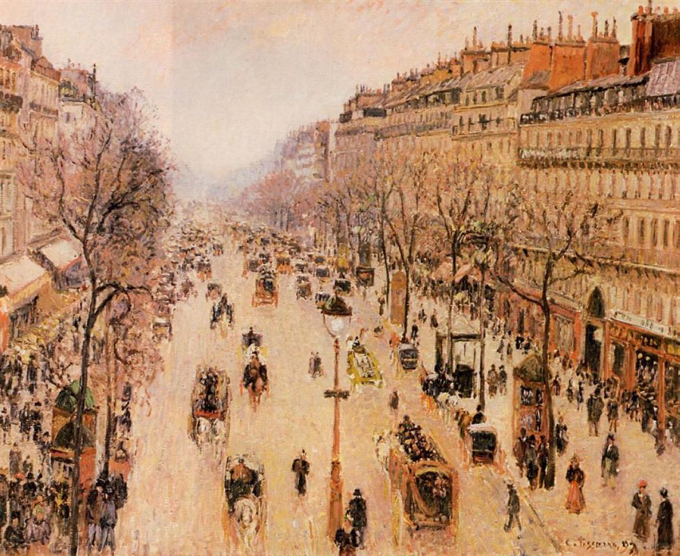 Boulevard Montmartre Morning, Grey Weather (1897) - C. Pissarro