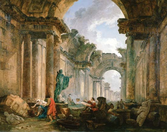Robert, Hubert:   Imaginary View of the Grand Gallery of the Louvre in Ruins