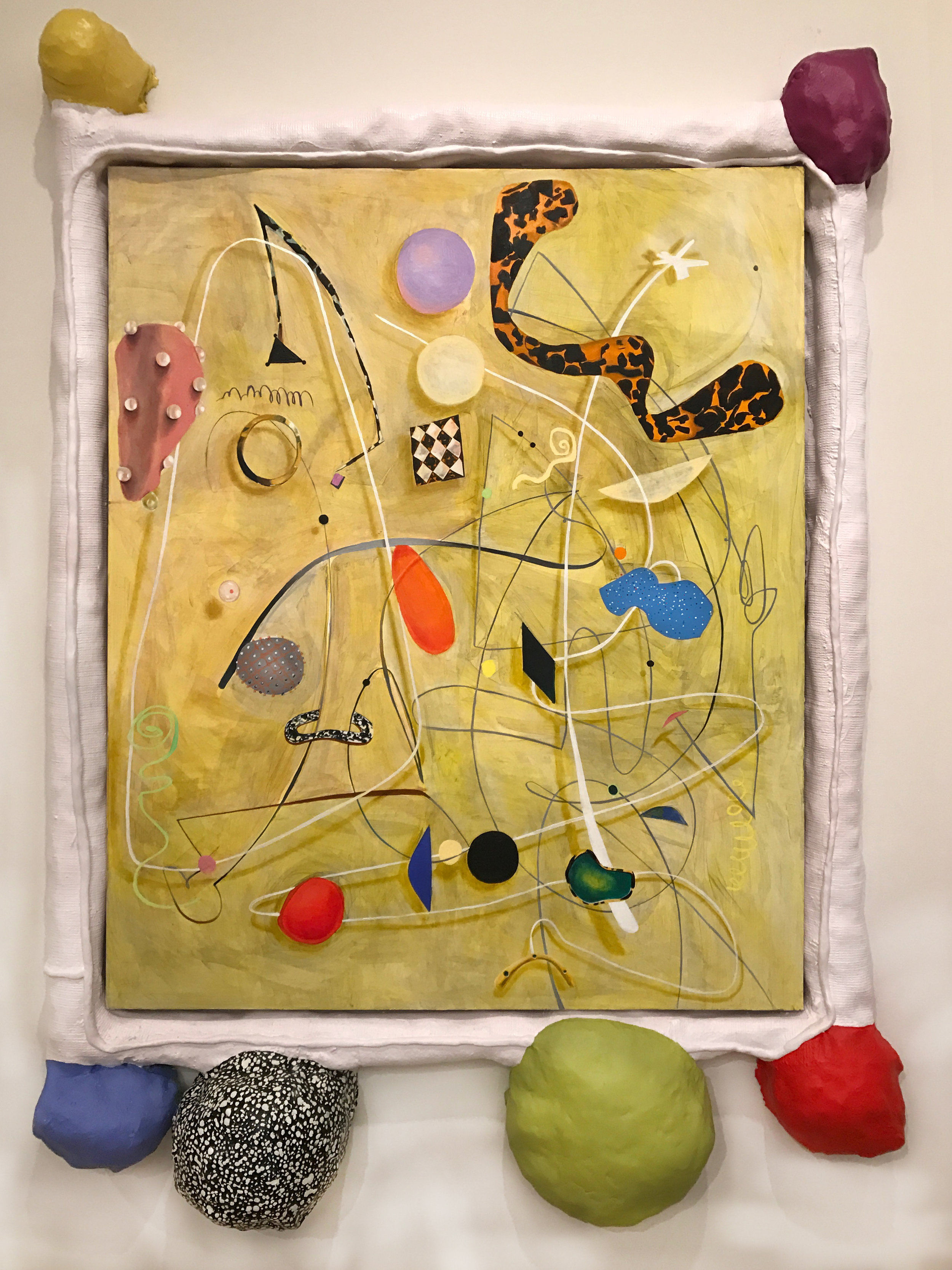 A Lived Thing II  oil, acrylic paint, foam, plaster, fiberglass, Apoxie Sculpt, canvas 70 x 68 x 5 in