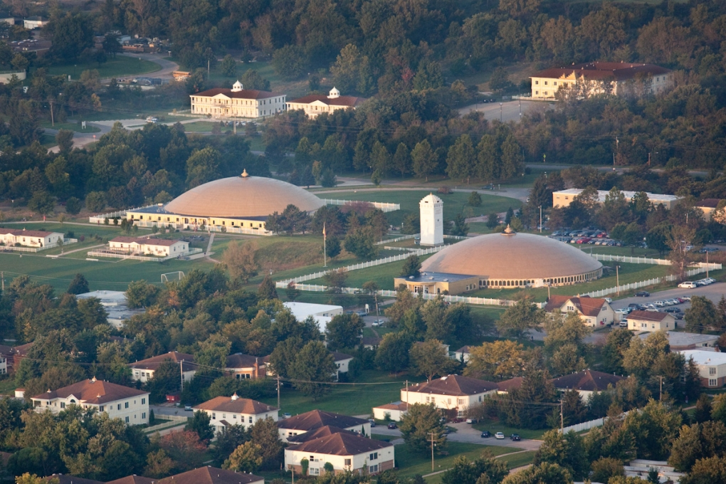 Aerial view of the two meditation domes in Fairfield, Iowa.