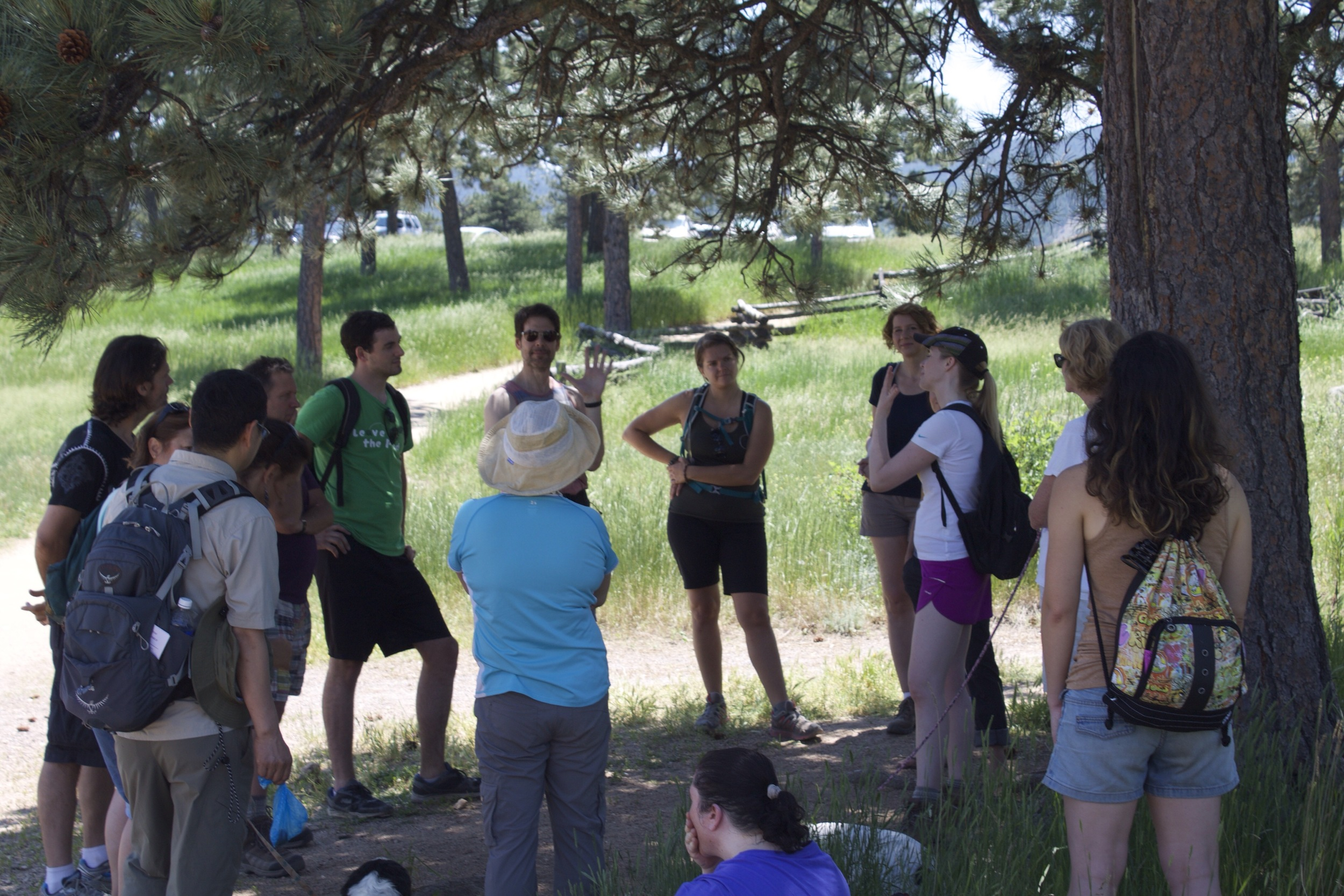 Leading a discussion about self-compassion on a free group hike.
