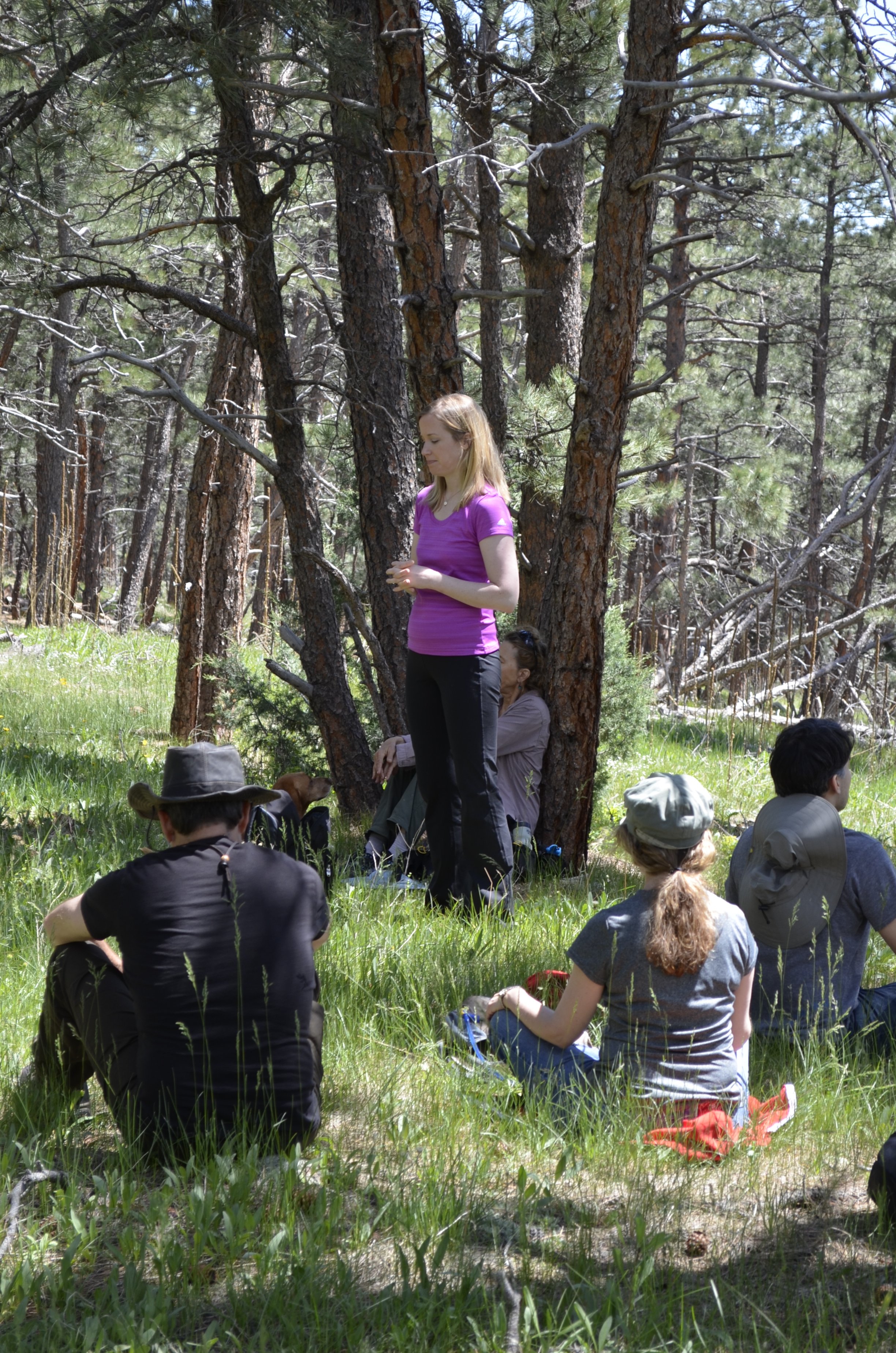 Kelley guiding a meditation in nature with Spiritually Human MeetUp
