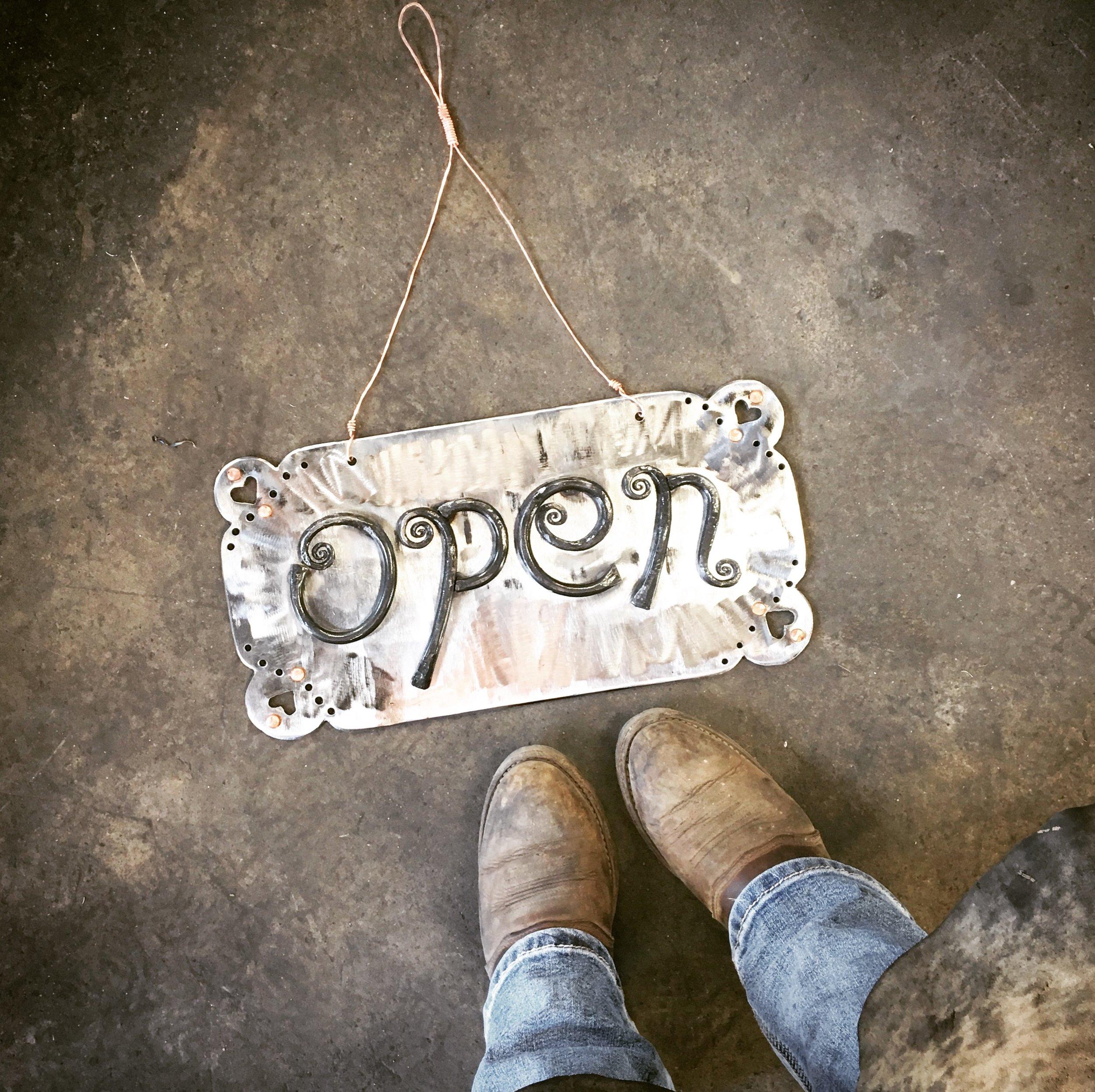Backcountry Blacksmith's open sign!