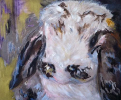Olena Marshall: One Rabbit  (24x50), oil on canvas