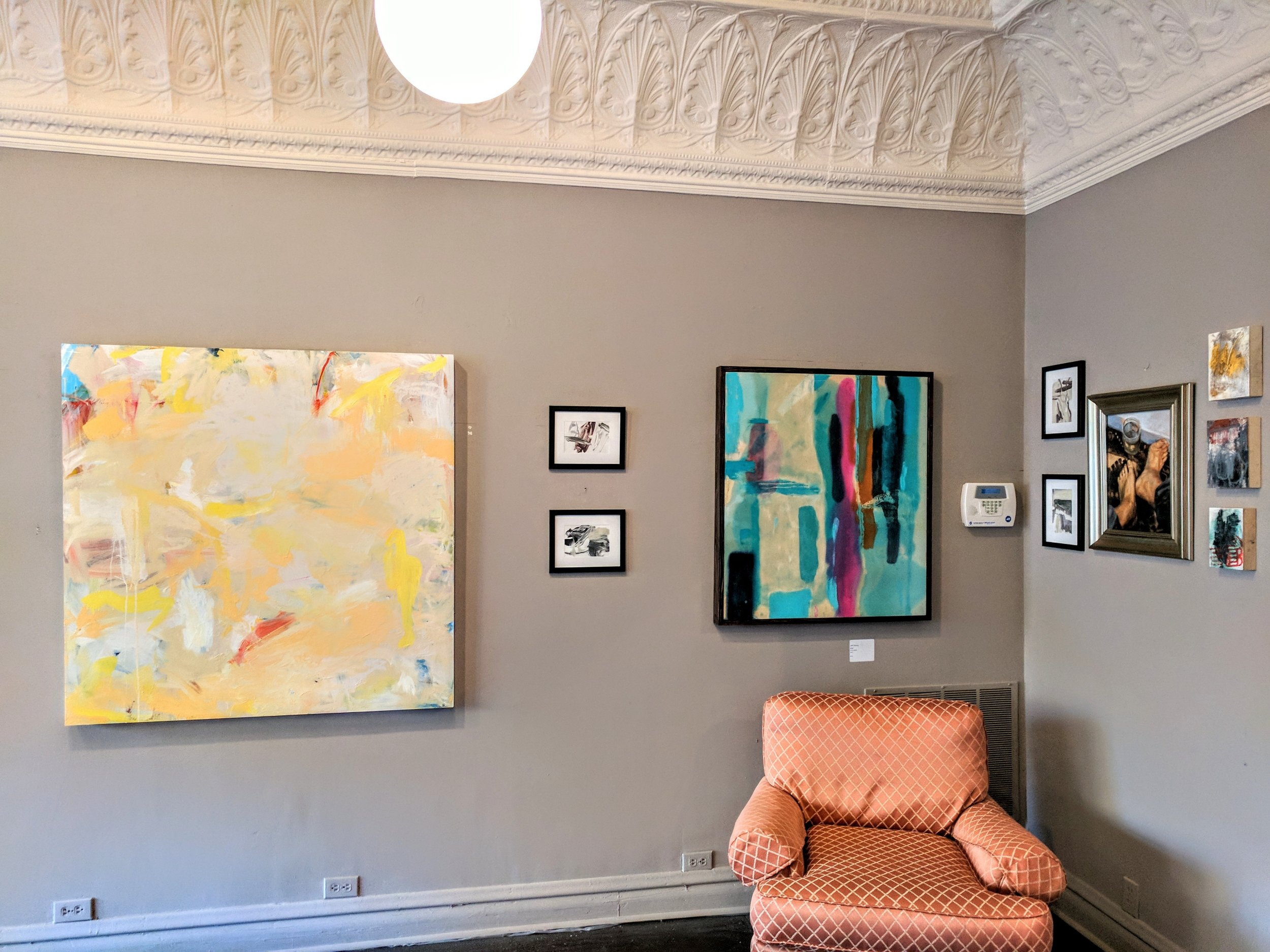 Installation shot of Modified Trajectory. Paintings in photo by Julie Tierney, Leah Hattendorf, Micheal Coon and Stasi Bobo-Ligon.