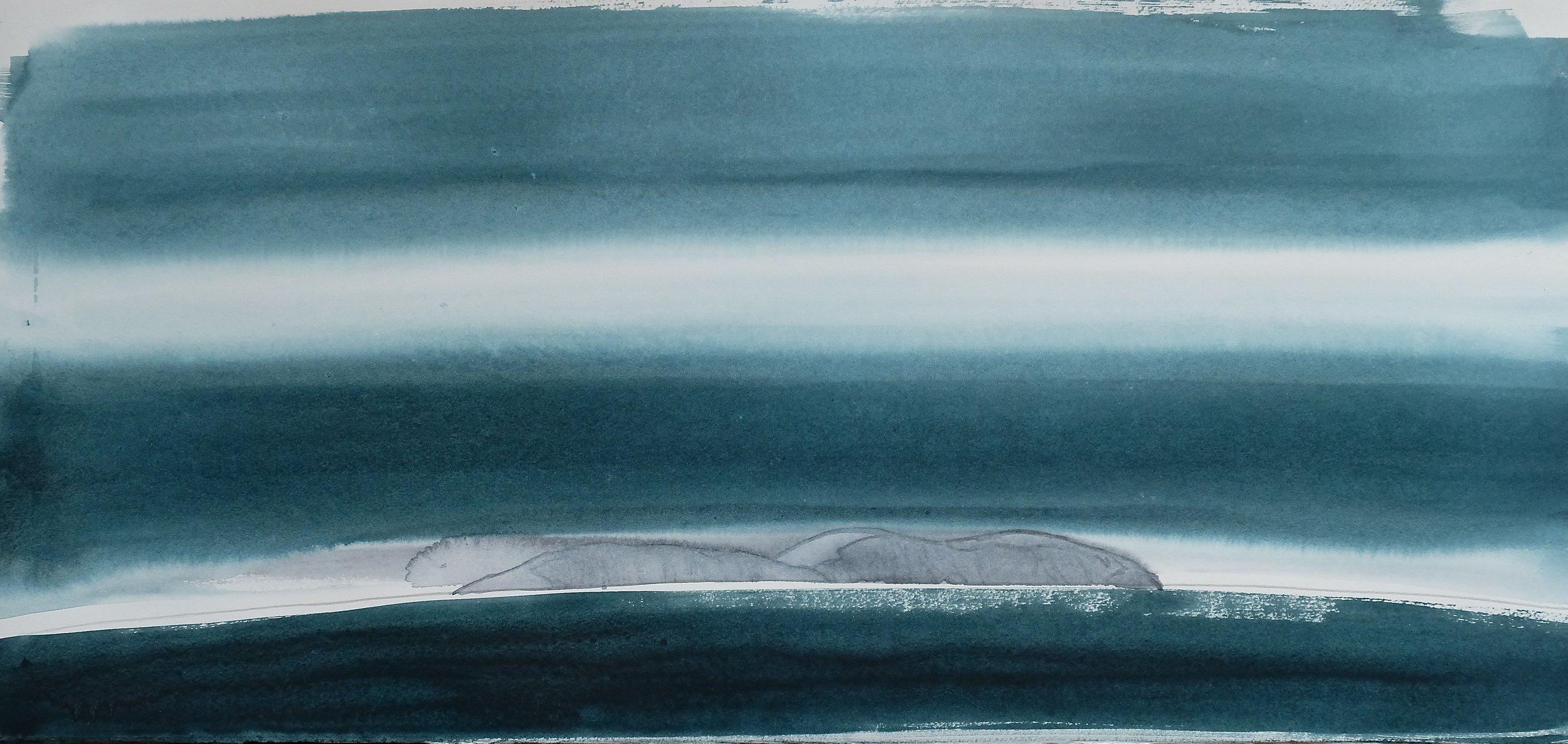 na h-Eileanan Seunta study 3 watercolour on TH Saunders Waterford 41 x 85.5 cm