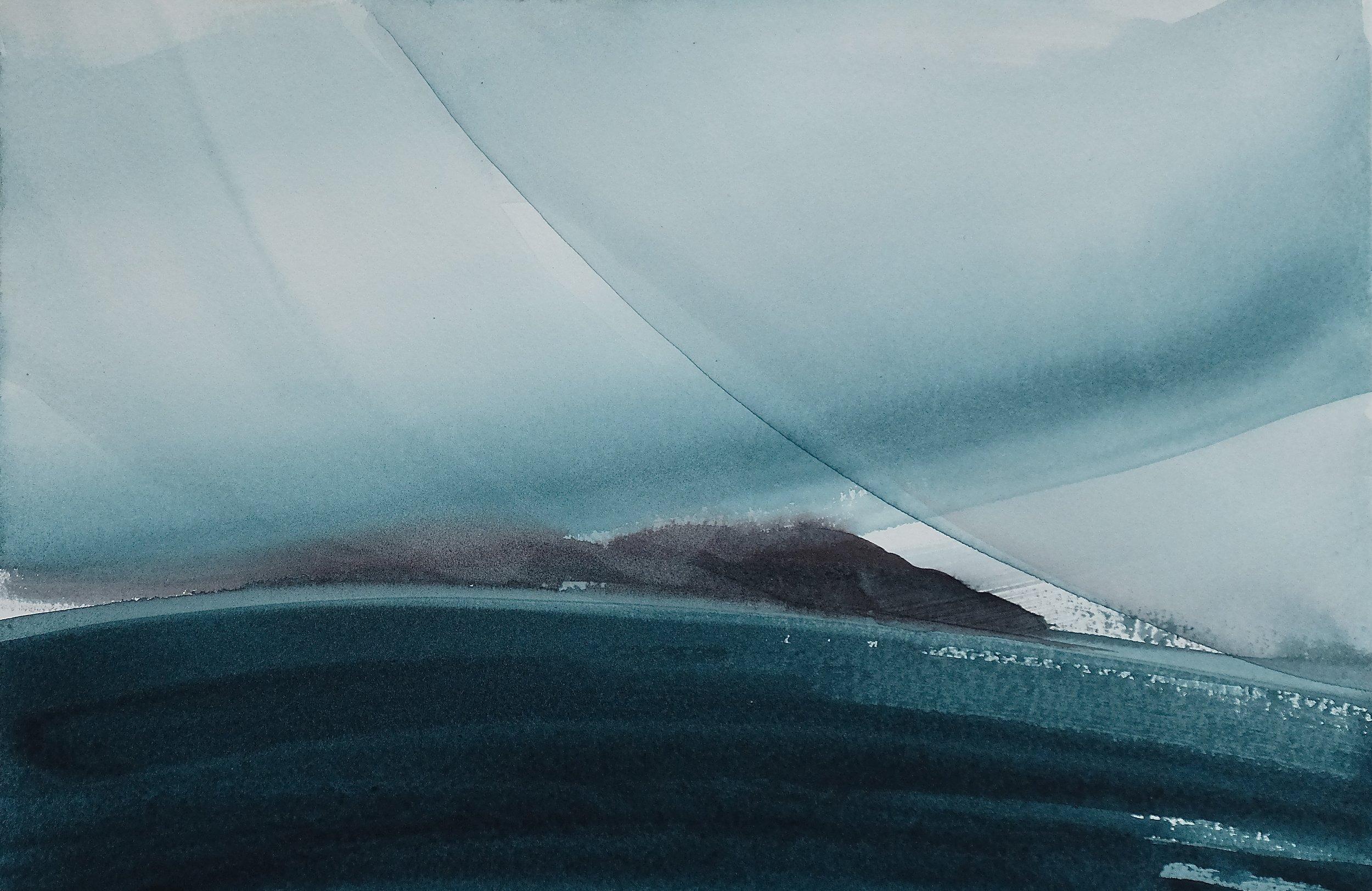 na h-Eileanan Seunta study 6 watercolour on TH Saunders Waterford 25 x 38.5 cm