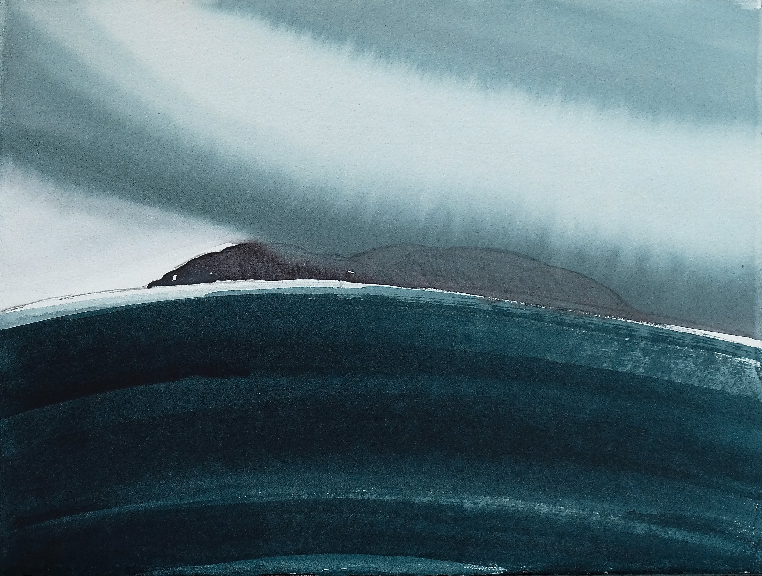 na h-Eileanan Seunta study 7 watercolour on TH Saunders Waterford 29 x 38.5 cm