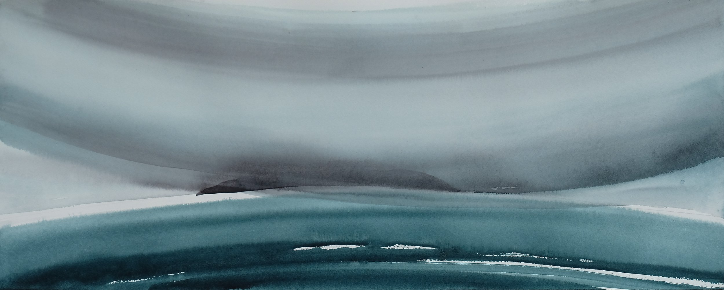 na h-Eileanan Seunta study 8 watercolour on TH Saunders Waterford 31 x 76.5 cm
